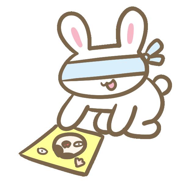 福笑いをやるウサギのイラスト