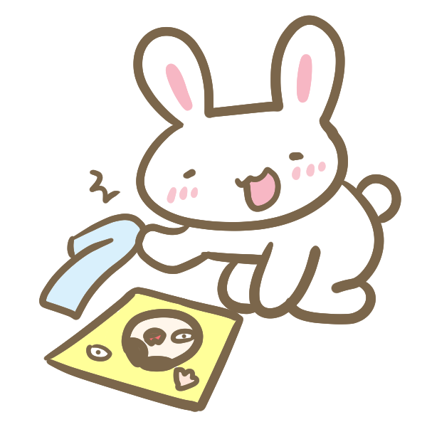 福笑いの出来上がりを見るウサギのイラスト