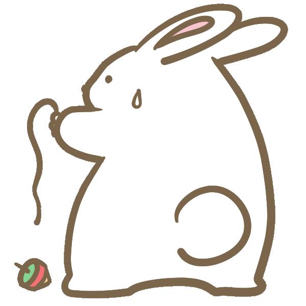 コマを回せないウサギのイラスト