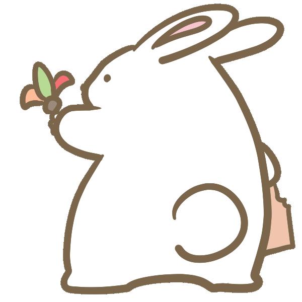 羽根つきをするウサギのイラスト