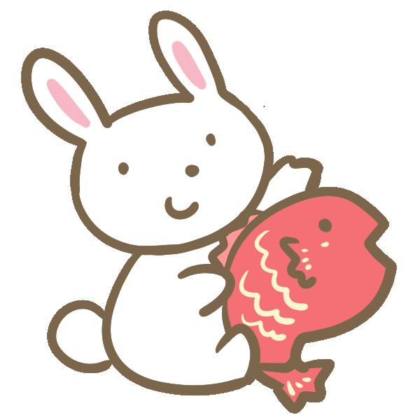 ウサギと鯛のイラスト