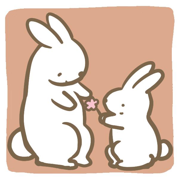 母の日(ウサギ)のイラスト