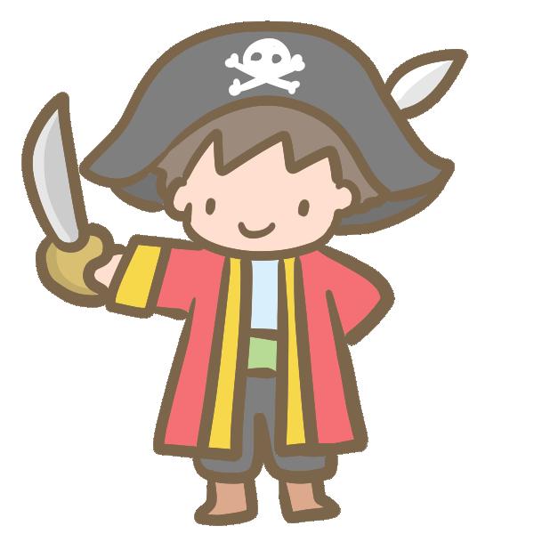 仮装する男の子(海賊)のイラスト