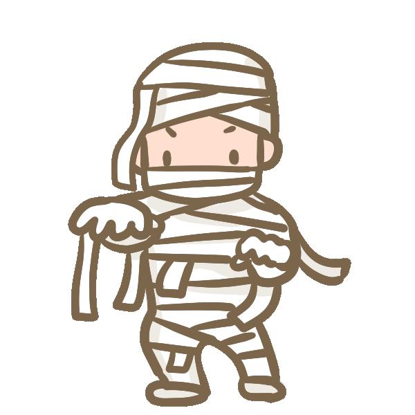 仮装する男の子(ミイラ)のイラスト