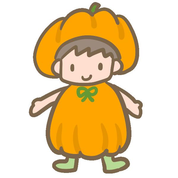 仮装する男の子(かぼちゃ)のイラスト