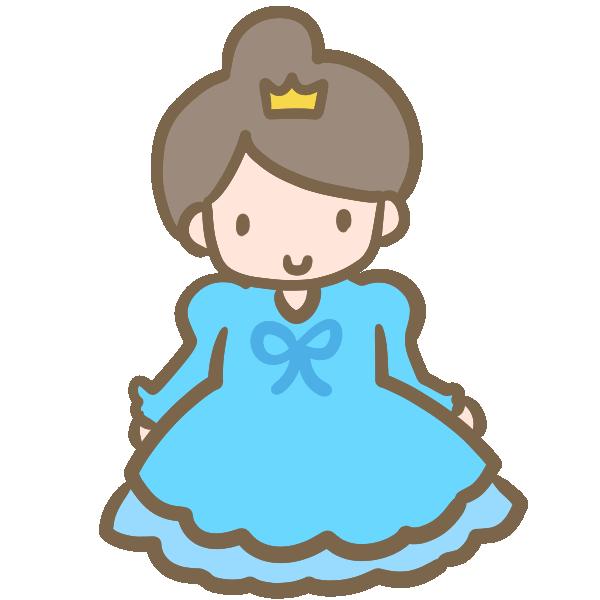 仮装する女の子(ブルーのドレス)のイラスト