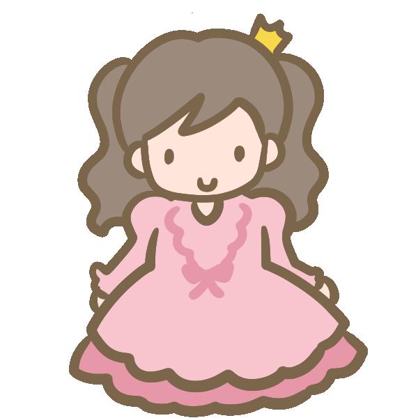 仮装する女の子(ピンクのドレス)のイラスト