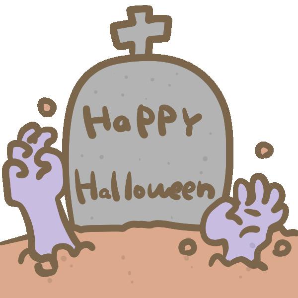 お墓からゾンビの手のイラスト