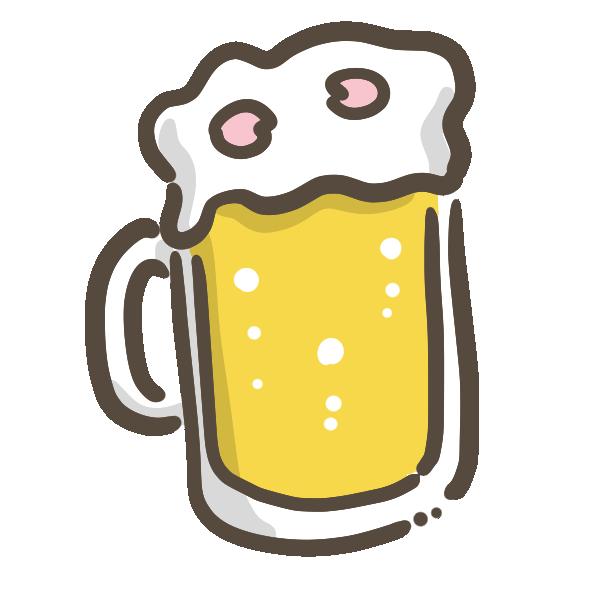 ビールに花びらのイラスト