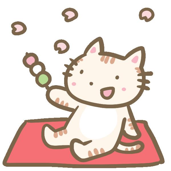 お花見するネコのイラスト