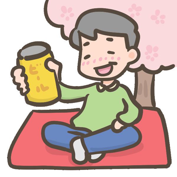 おじさん、お花見でビールのイラスト