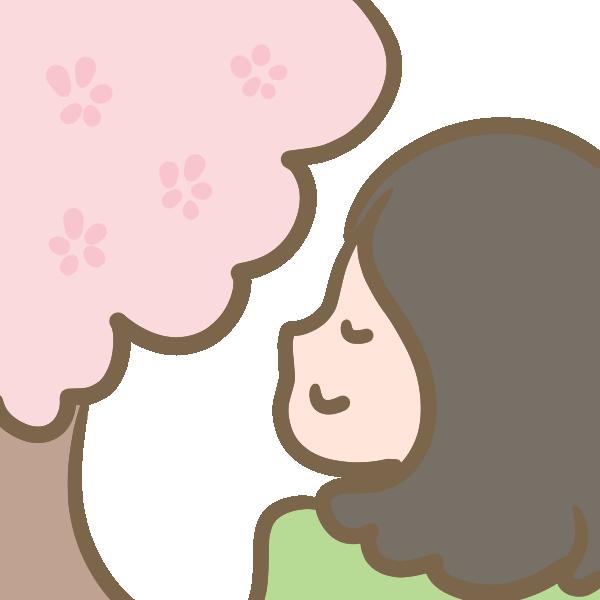 桜に癒される女性のイラスト