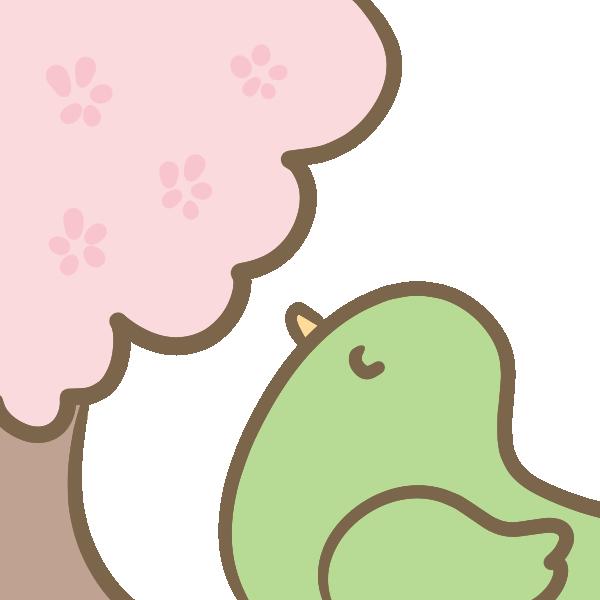 桜に癒される小鳥のイラスト