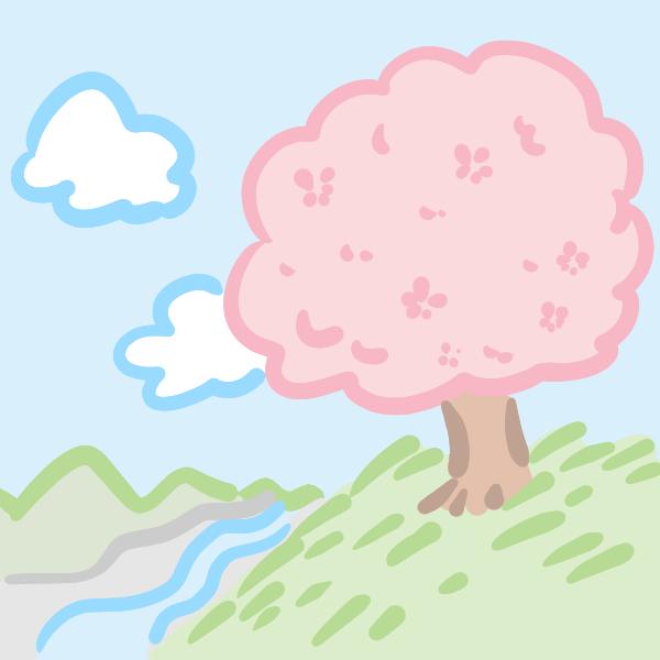 桜の木の風景のイラスト
