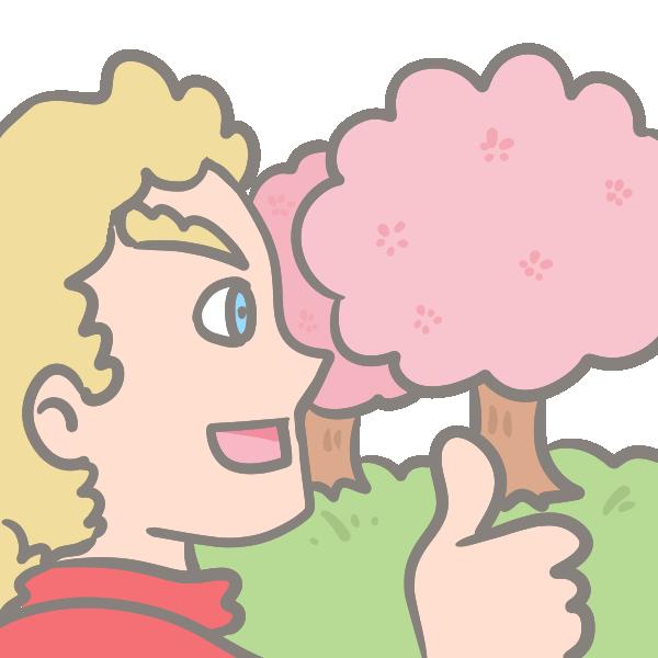 外国人男性のお花見のイラスト