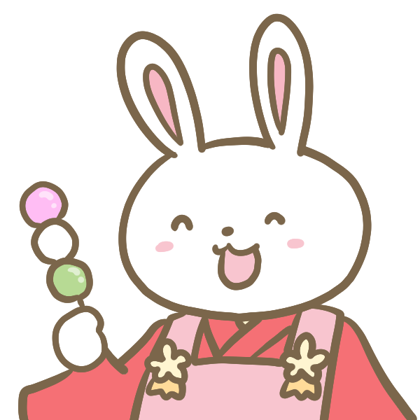 ウサギと三色団子のイラスト