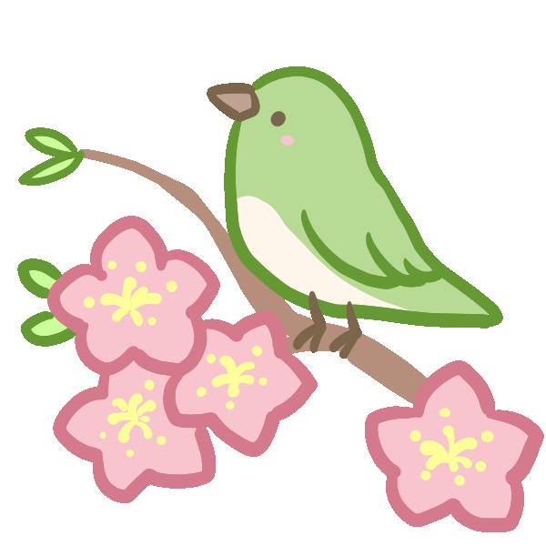 ウグイスと桃の花のイラスト