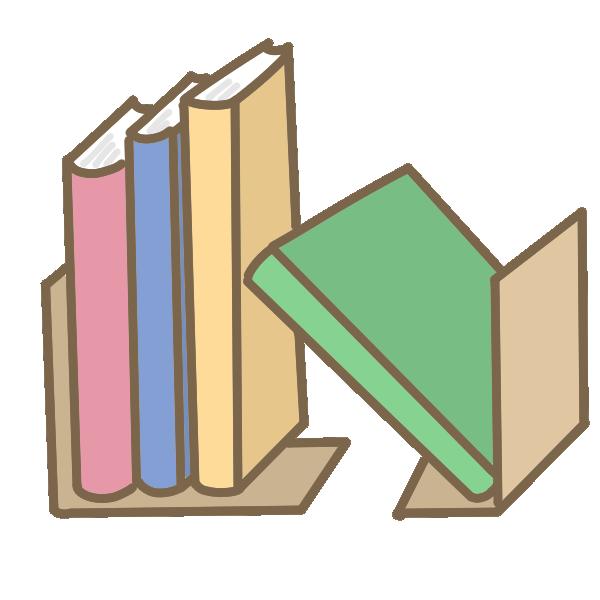乱雑な本棚のイラスト