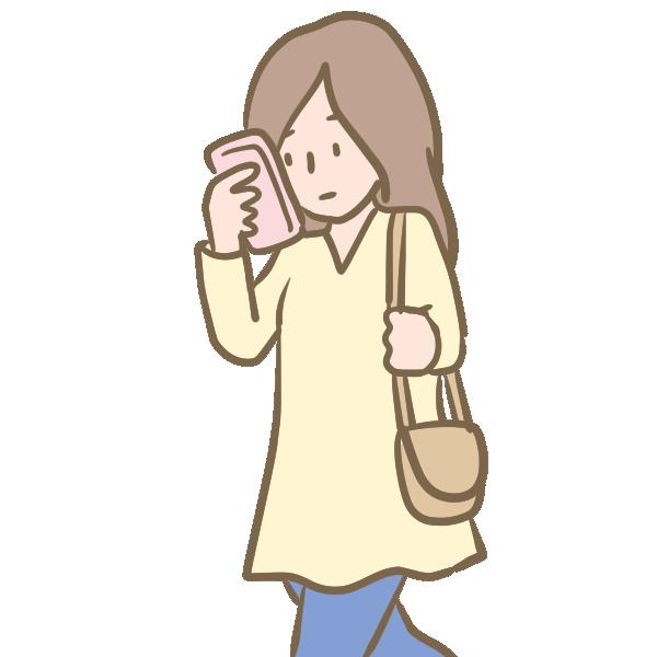 ながらスマホ(女性)のイラスト