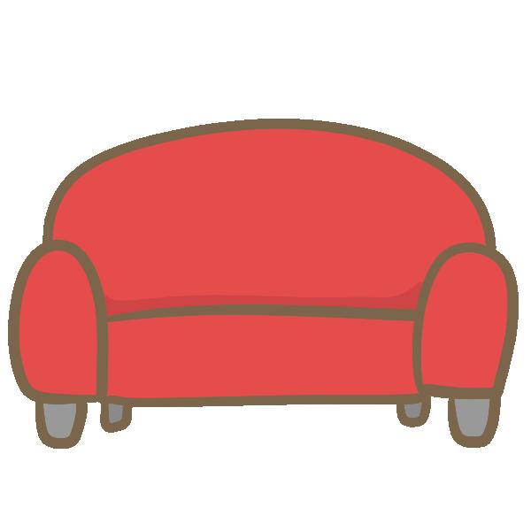 ラブソファー(赤)のイラスト