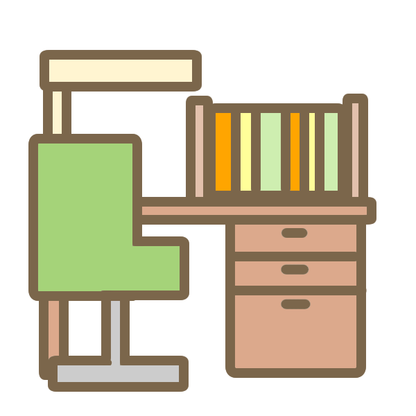 学習机(茶)のイラスト