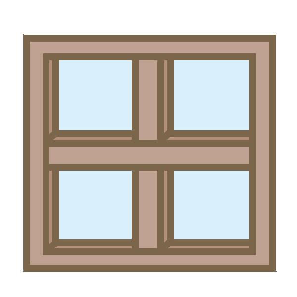 カフェ風窓枠(茶)のイラスト