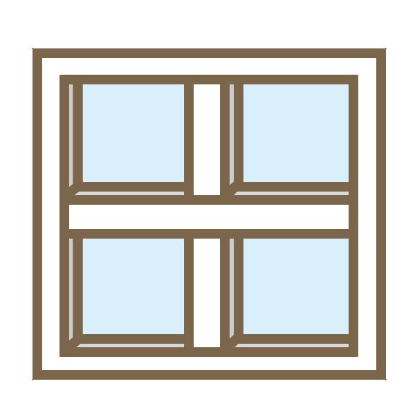カフェ風窓枠(白)のイラスト