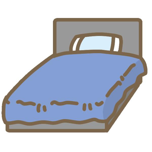 ベッド(青)のイラスト