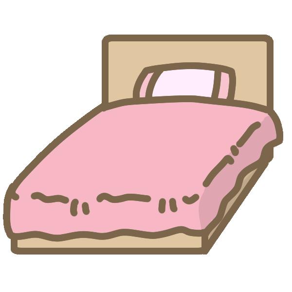 ベッド(ピンク)のイラスト
