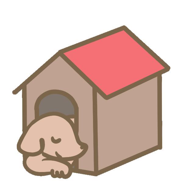 犬小屋と犬のイラスト