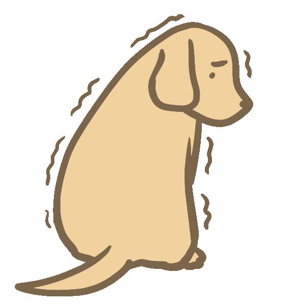 おびえる犬のイラスト