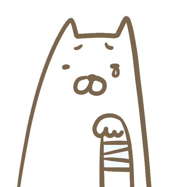 けがをした犬のイラスト