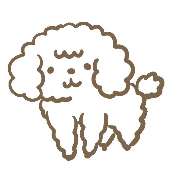 モフモフした犬(白)のイラスト