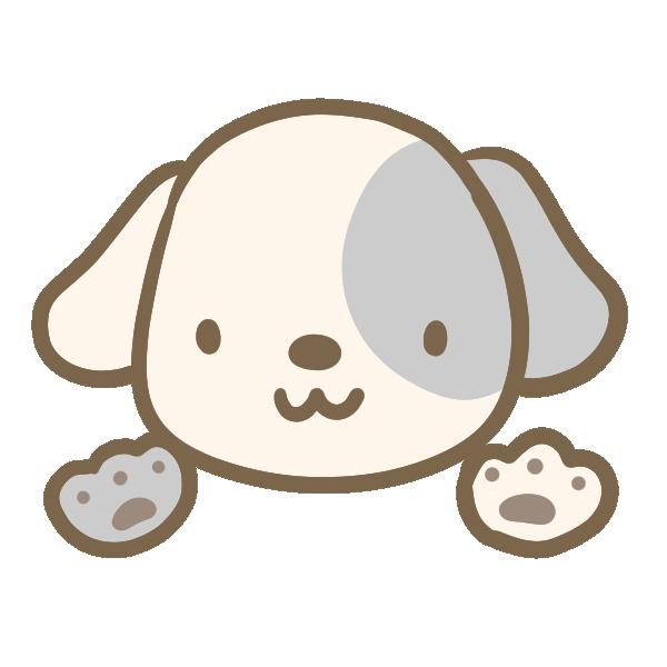 白と黒の犬のイラスト
