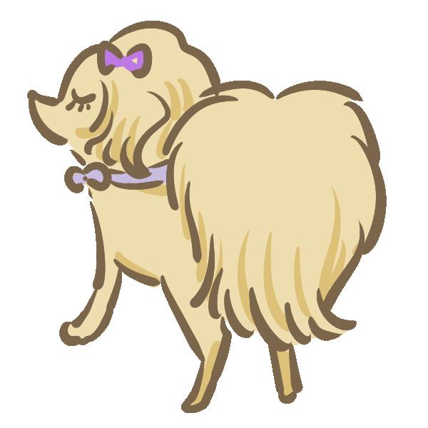 お嬢様に見える犬のイラスト