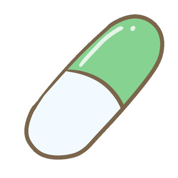 カプセル錠剤(グリーン)のイラスト