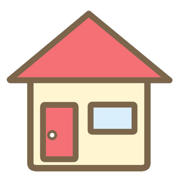 三角屋根の家 赤 のイラスト かわいいフリー素材が無料のイラストレイン