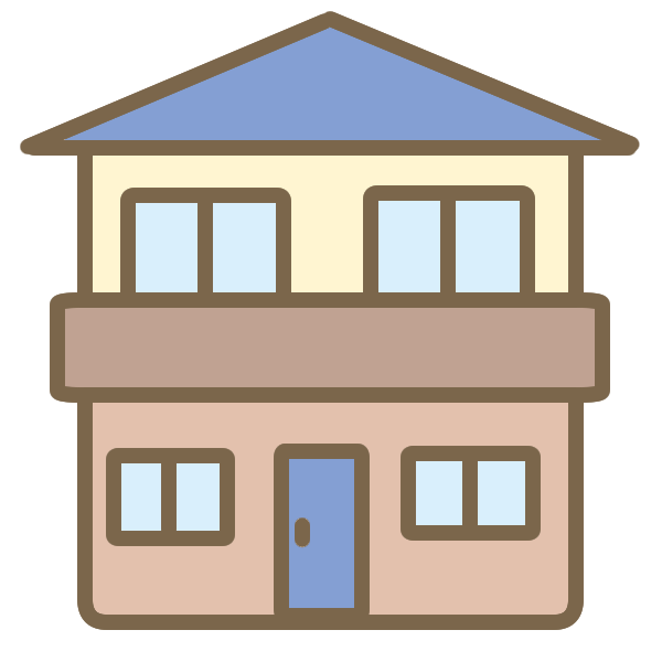 ツートンカラーの家(青)のイラスト
