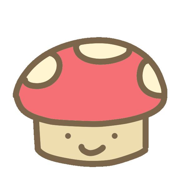 キノコいす(赤)のイラスト