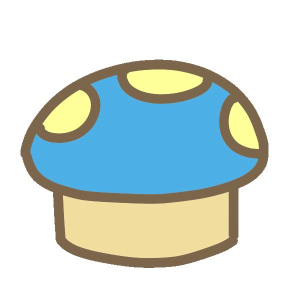 キノコいす(青)のイラスト
