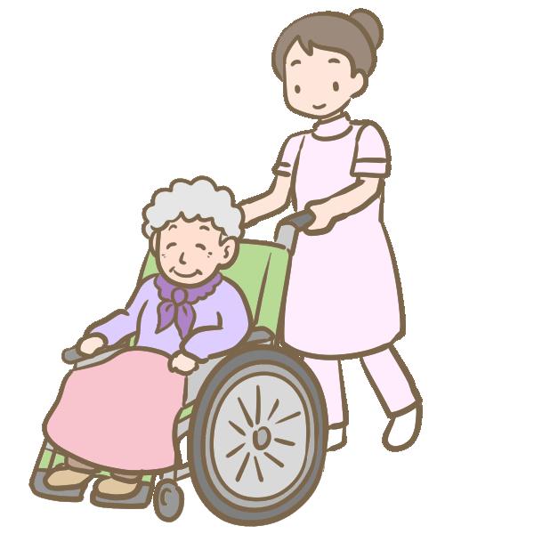 車いすのおばあさんとヘルパーのイラスト
