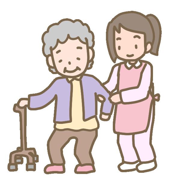 おばあさんの歩行介助のイラスト
