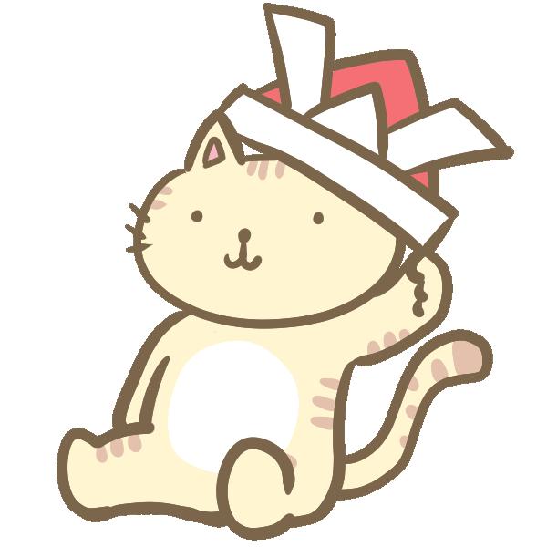 兜をかぶるネコのイラスト