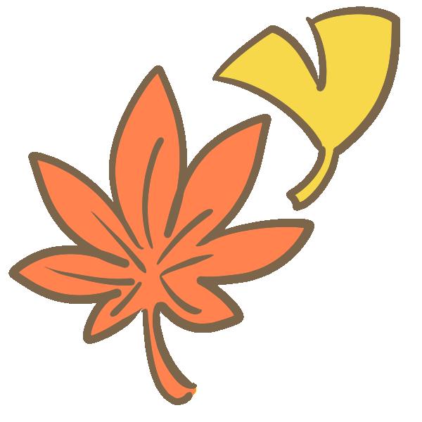 もみじといちょうの葉のイラスト