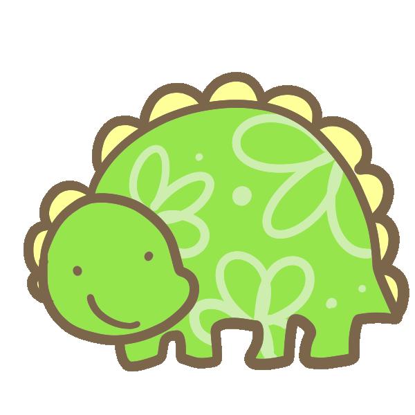 絵本風の恐竜(きみどり)のイラスト