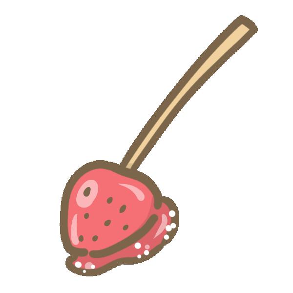 イチゴ飴のイラスト
