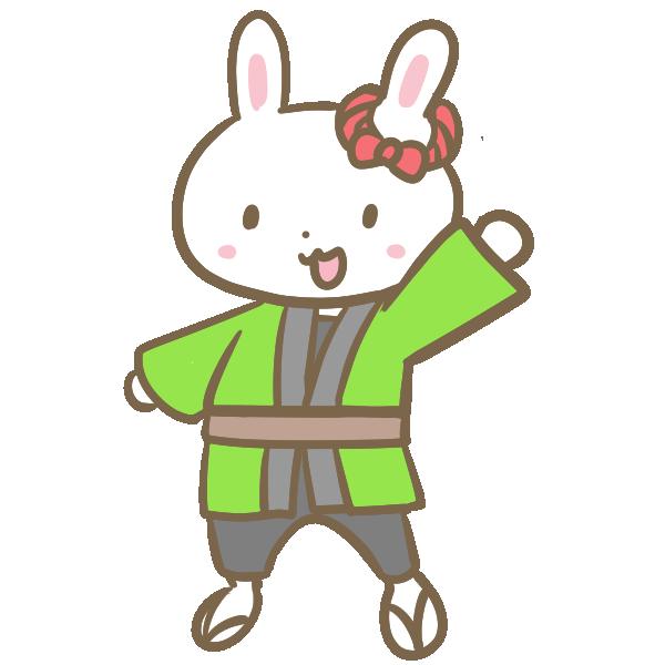 はっぴのウサギのイラスト