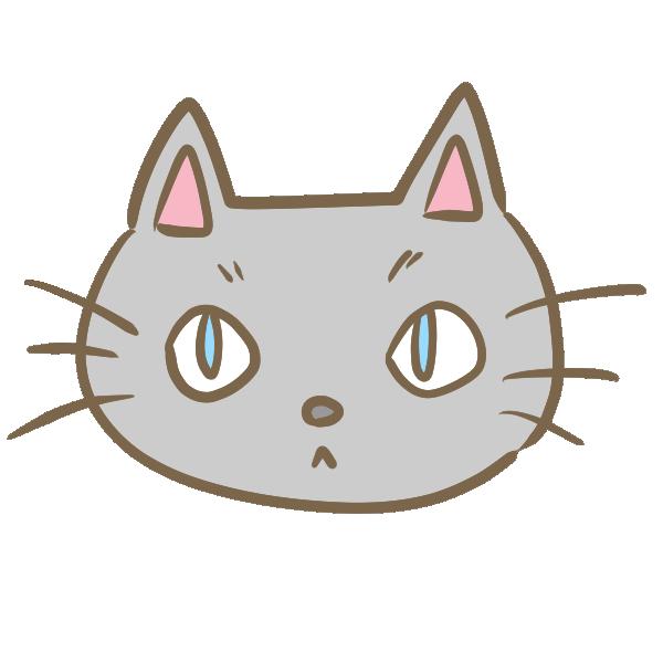 猫の顔(グレー)のイラスト