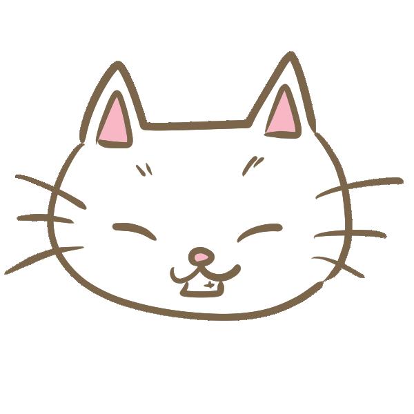 猫の顔(白)のイラスト
