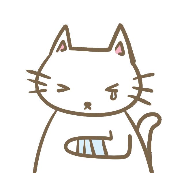 けがをした猫のイラスト